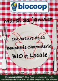 Ouverture d'une boucherie 100% bio et locale à Biocop Cabestany