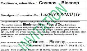 Conférence sur la Biodynamie le vendredi 10 février, entrée libre Cosmos-Biocoop