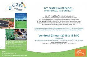 Conférence le 23 mars à 18h : DES CANTINES AUTREMENT… BIO ET LOCAL, ILS L'ONT FAIT !
