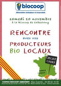 Rencontre avec vos producteurs bio locaux le samedi 10 novembre à Biocoop Cabestany