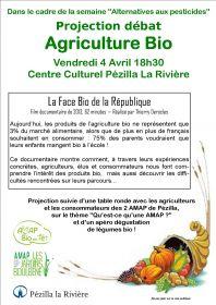 Projection débat, Agriculture bio - Vendredi 4 Avril 18h30 Pézilla-La-Rivière- .