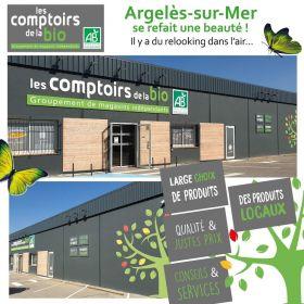 Biocomices devient les Comptoirs de la Bio Argeles, ouverture promotionnelle les 12 et 13 mars