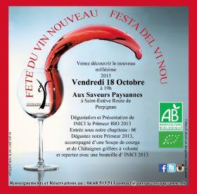 Fête du vin nouveau au Domaine EY à St Estève le vendredi 18 octobre